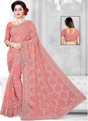 Net Embroidered Pink Classic Saree