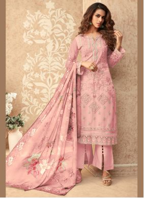 Net Embroidered Pink Designer Palazzo Suit