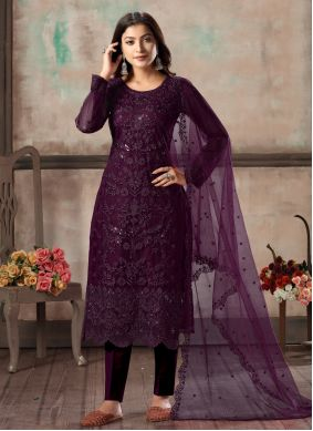 Net Embroidered Purple Pant Style Suit