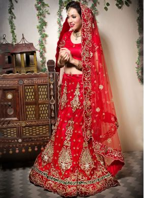 Net Embroidered Red Designer Lehenga Choli