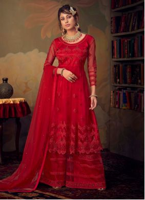 Net Embroidered Red Palazzo Suit