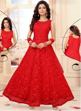 Net Embroidered Red Readymade Anarkali Salwar Suit