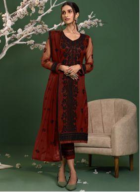 Net Embroidered Red Salwar Kameez