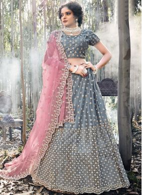 Net Embroidered Trendy A Line Lehenga Choli in Grey