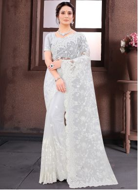 Net Embroidered White Classic Saree
