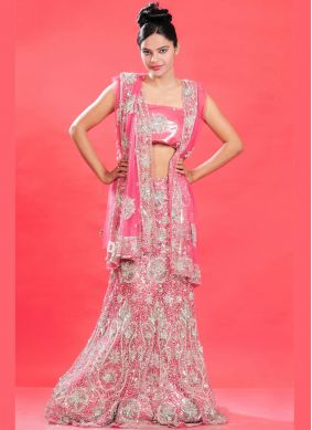 Net Fancy Lehenga Choli in Pink