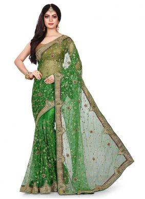 Net Green Designer Traditional Saree