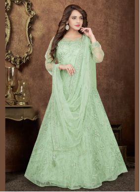 Net Green Readymade Salwar Kameez