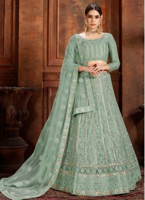 Net Green Thread Designer Lehenga Choli