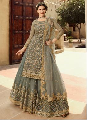 Net Grey Embroidered Salwar Suit