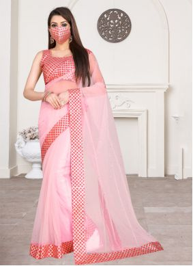 Net Lace Pink Traditional Saree
