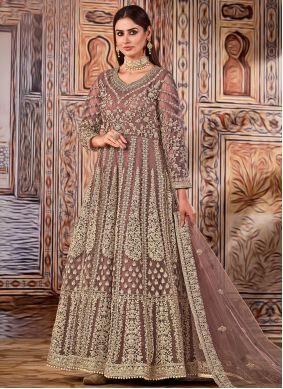 Net Mauve  Embroidered Floor Length Designer Suit