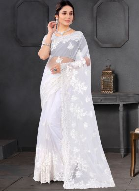 Net Off White Embroidered Trendy Saree