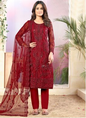 Net Pant Style Suit in Red