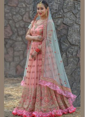 Net Peach Embroidered Designer Lehenga Choli