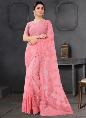 Net Pink Embroidered Trendy Saree