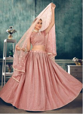 Net Pink Thread Lehenga Choli