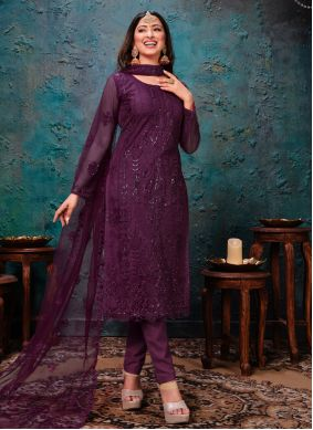 Net Purple Churidar Designer Suit