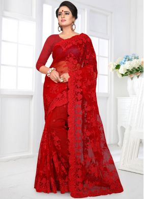 Net Red Embroidered Classic Designer Saree