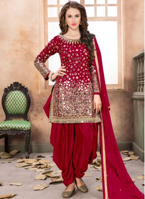 Net Red Mirror Patiala Salwar Kameez