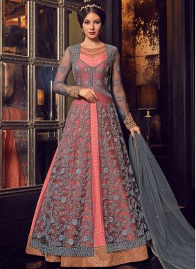 Net Resham Grey and Pink Floor Length Anarkali Suit
