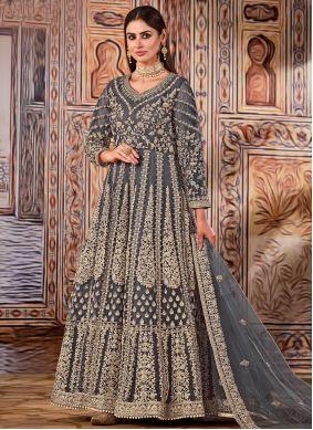 Net Resham Grey Floor Length Designer Suit