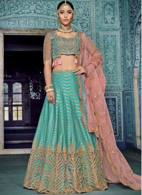 Net Resham Lehenga Choli in Blue