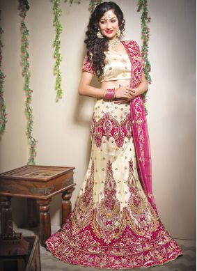 Net Resham Trendy Lehenga Choli in Cream