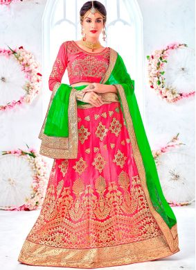 Net Rose Pink Embroidered Lehenga Choli