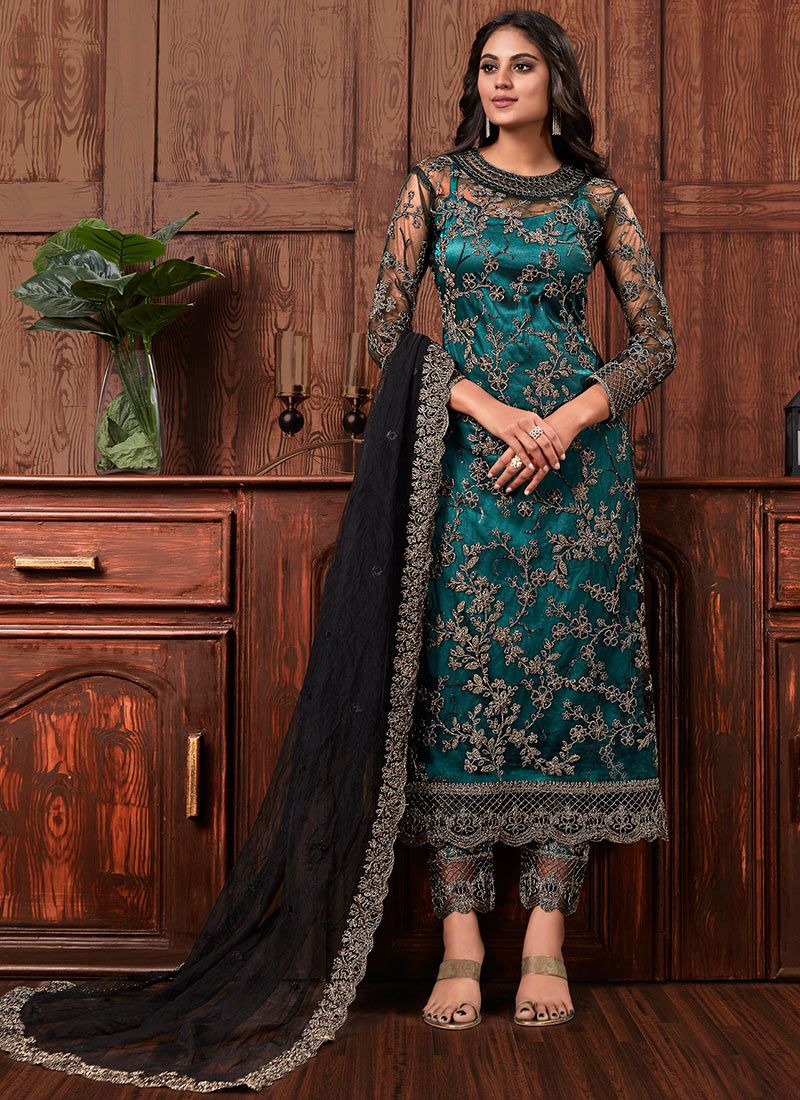 Net Salwar Suit in Black and Green