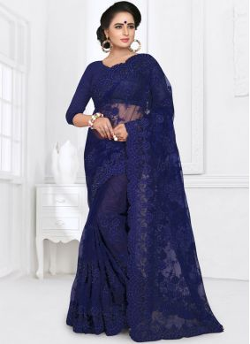 Net Saree in Blue