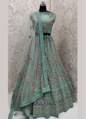 Net Sea Green Border A Line Lehenga Choli