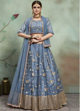 Net Sequins Trendy Lehenga Choli in Grey
