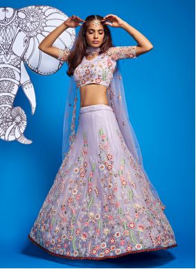 Net Thread Off White A Line Lehenga Choli