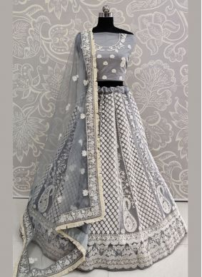 Net Thread Work Grey Lehenga Choli