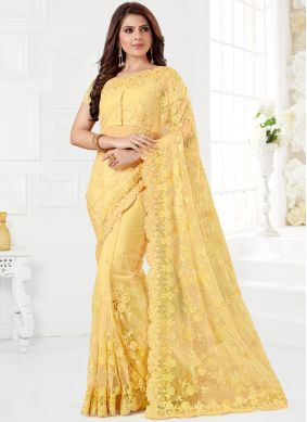 Net Traditional Saree in Yellow