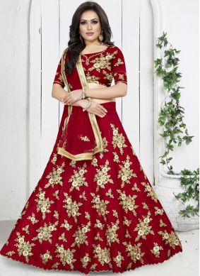 Net Trendy Designer Lehenga Choli in Red