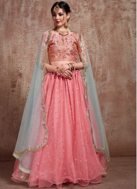 Net Trendy Lehenga Choli in Rose Pink