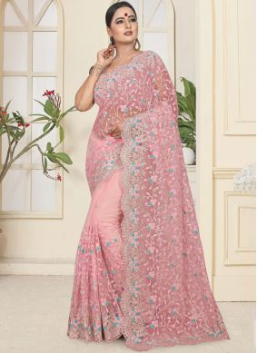 Net Trendy Saree in Pink
