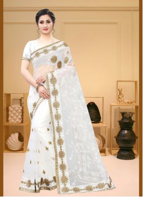 Net White Embroidered Bollywood Saree