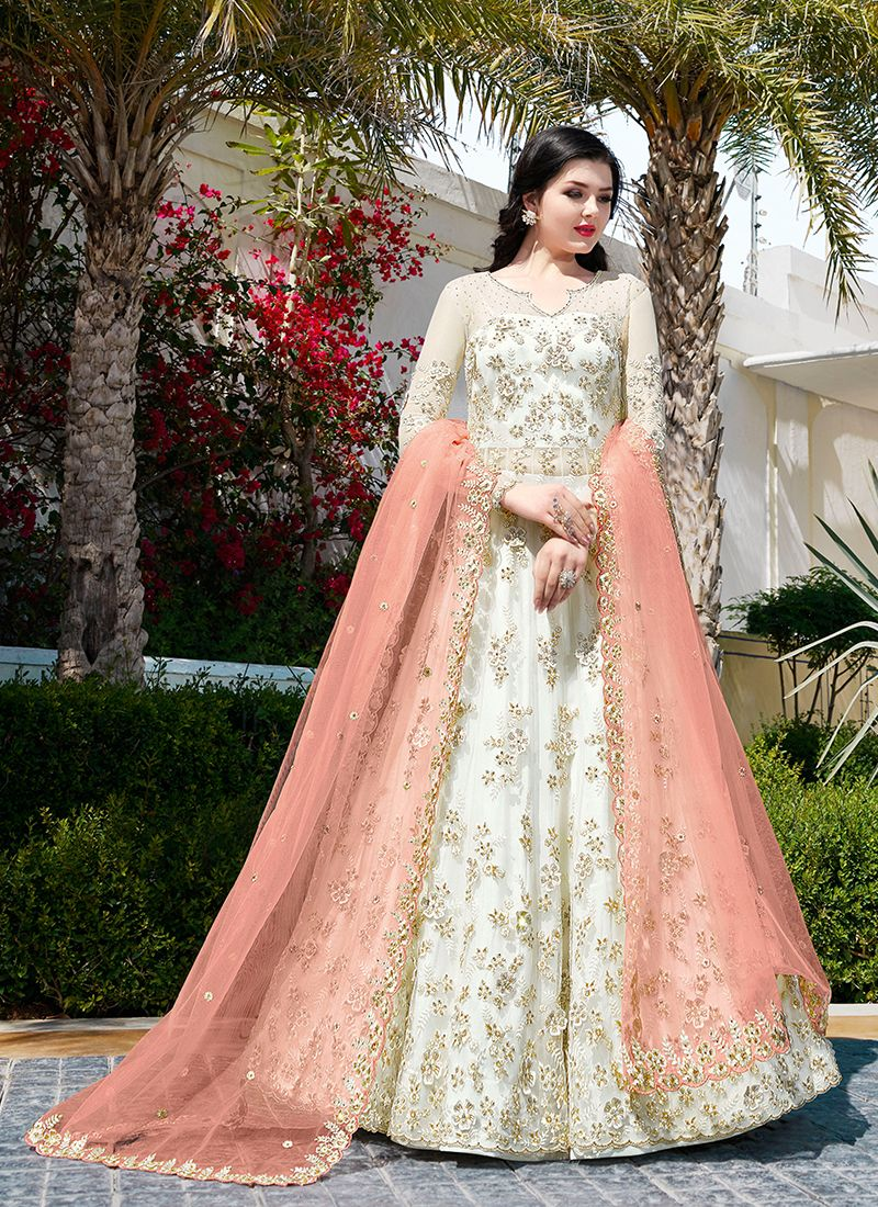 Net White Embroidered Floor Length Anarkali Suit