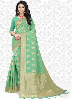Net Woven Classic Designer Saree in Sea Green