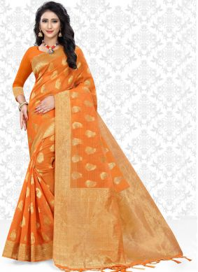 Net Woven Classic Saree in Orange