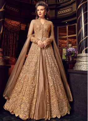 Net Zari Beige Long Choli Lehenga