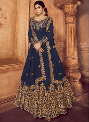 Nice Blue Embroidered Trendy Anarkali Salwar Kameez