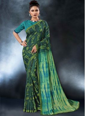 Nice Digital Print Green Tussar Silk Printed Saree