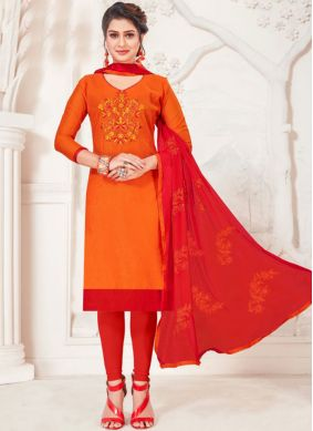 Nice Embroidered Silk Orange Churidar Suit