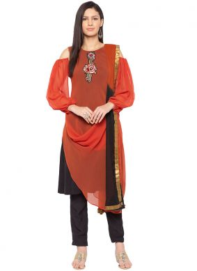 Nice Faux Georgette Embroidered Readymade Suit