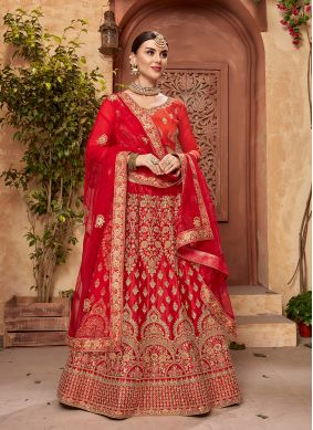 Nice Satin Silk Red Embroidered Designer Lehenga Choli
