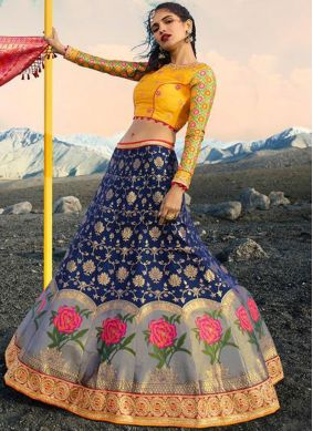 Noble Jacquard Silk Embroidered Lehenga Choli